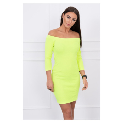 Dress fitted - ribbed yellow neon Kesi