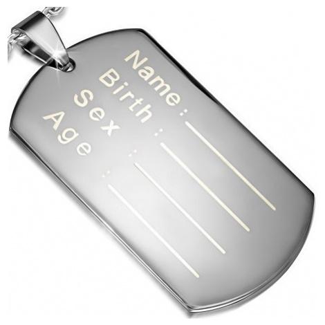 Lesklý ocelový přívěsek - plochá známka na osobní údaje Šperky eshop
