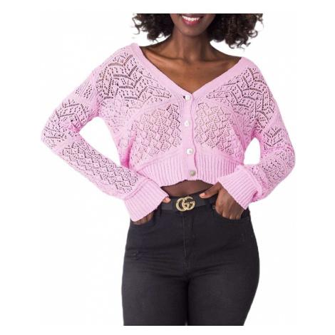 Růžový dámský pletený svetr na knoflíky