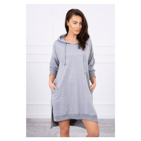 Mikinové šaty s rozparkem šedé Kesi