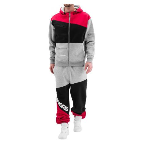 DANGEROUS DNGRS souprava pánská Sweat Suit Grey/Black/Red tepláková hip hop