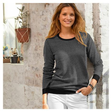 Blancheporte Žakárový pulovr černá/bílá