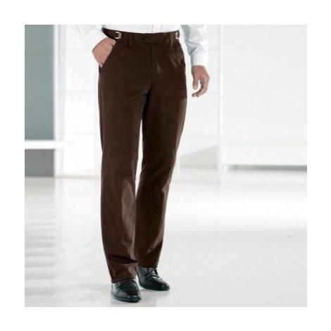 Kalhoty, 35% bavlna, nastavitelný pas kaštanová