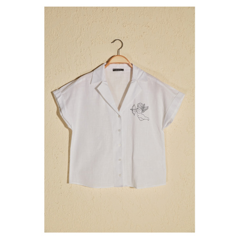 Trendyol White Embroidery Detailed Shirt
