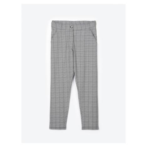 GATE Kárované strečové kalhoty rovného střihu