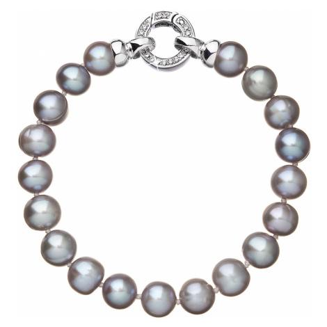 Perlový náramek z pravých říčních perel šedý 23010.3 Victum
