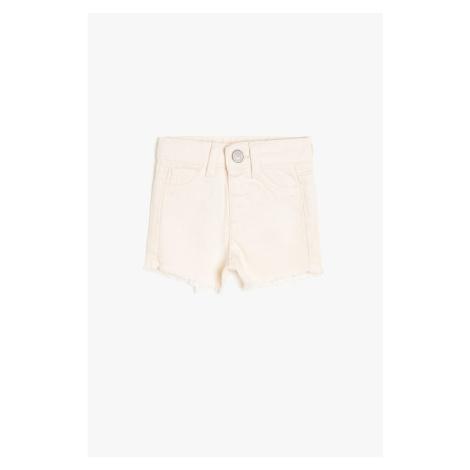 Koton White Baby Girl Pocket Detailed Jean Sort