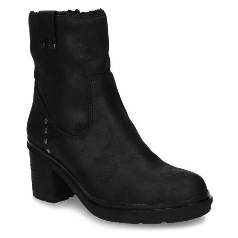 Dámská kotníková obuv s kožíškem v černé barvě