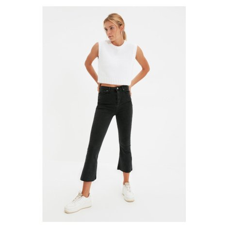 Trendyol Anthracite Crop High Waist Crop Flare Jeans
