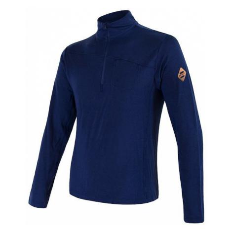 Pánské tričko SENSOR Merino Extreme dl. rukáv zip tm. modrá