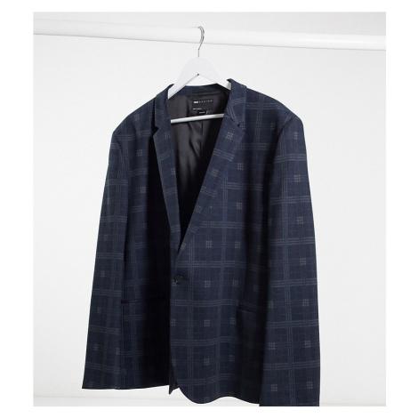 ASOS DESIGN Plus super skinny jersey blazer in navy check-Black