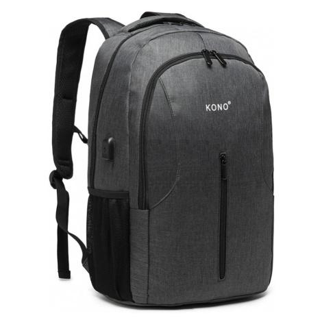 Šedý praktický voděodolný batoh s USB portem James Lulu Bags