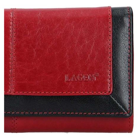 Dámská kožená peněženka Lagen Heda - červeno-černá