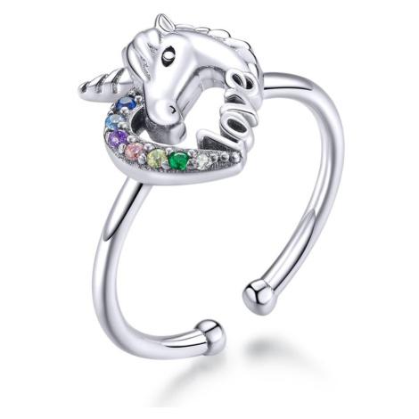 Linda's Jewelry Stříbrný prsten Pohádkový Jednorožec Ag 925/1000 IPR077 Velikost: Univerzální