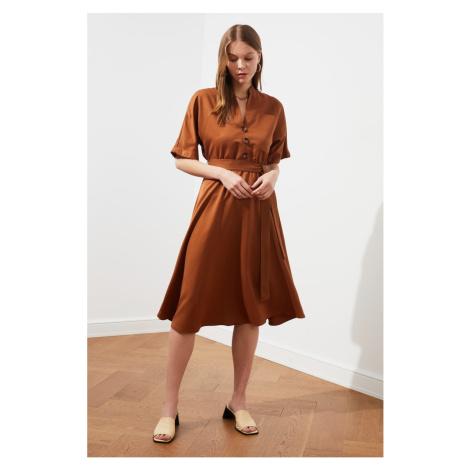 Trendyol Brown Belt Button Detailing Dress