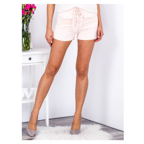 Tied peach shorts in eco suede with pockets Fashionhunters