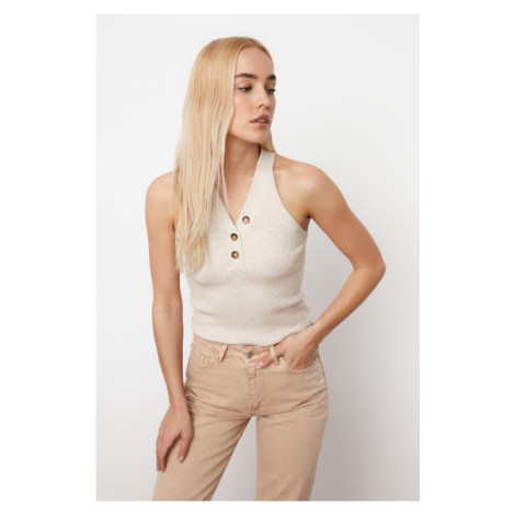 Trendyol Knitwear Blouse with Beige Button Detail