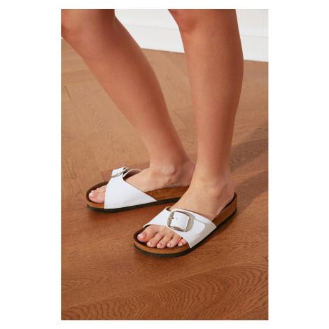 Trendyol White Buckle Women's Slippers