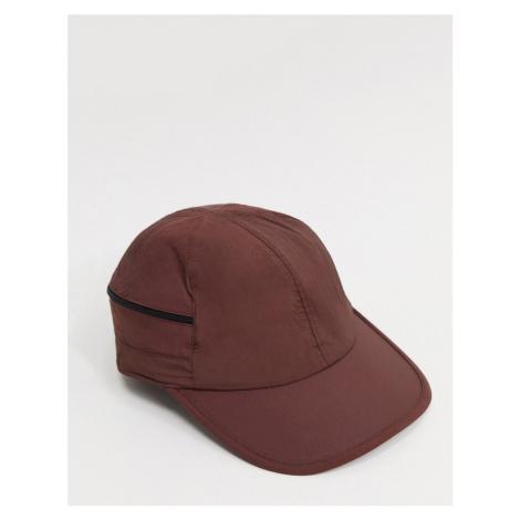 ASOS DESIGN baseball cap in nylon with storm flap detail-Purple