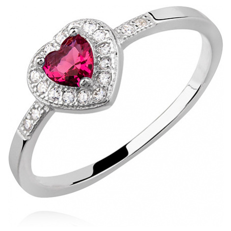 OLIVIE Stříbrný prsten ČERVENÉ SRDCE 4975