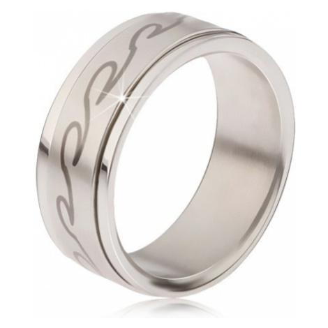 Prsten z chirurgické oceli - matná točící se obruč, potisk zaoblených vln Šperky eshop
