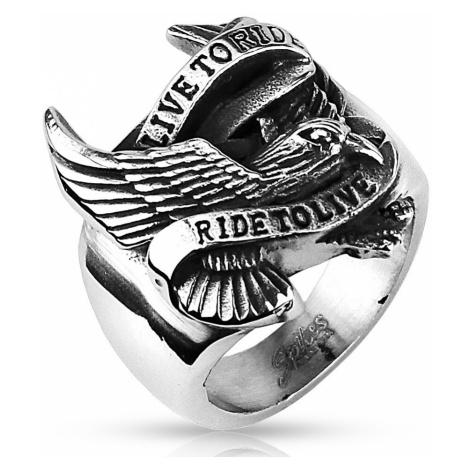 Prsten z oceli s motivem orla a nápisem Šperky eshop