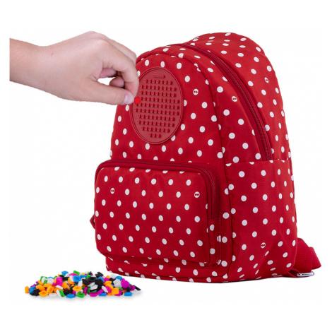 PIXIE CREW teenage batůžek červená látka s bílými tečkami  + Brožurka kreativních nápadů + 65 ma