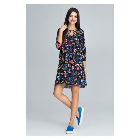 Trapézové šaty letní s potiskem s výstřihem svázaným u krku
