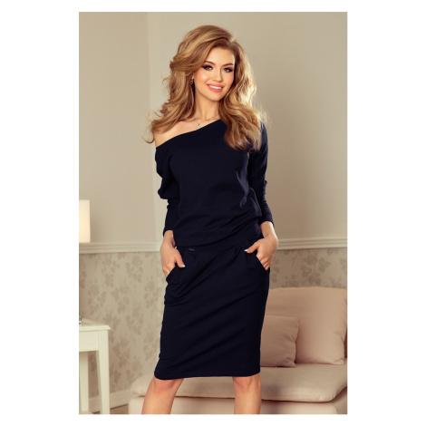 Tmavě modré dámské teplákové šaty s výstřihem na zádech model 6831757