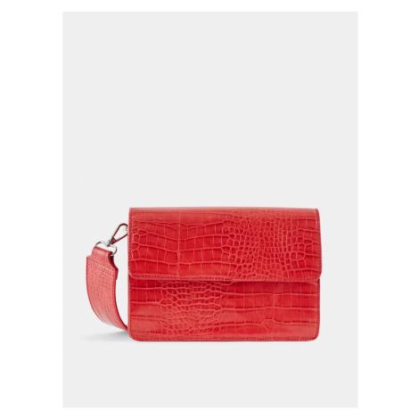 Červená crossbody kabelka s krokodýlím vzorem Pieces Jally