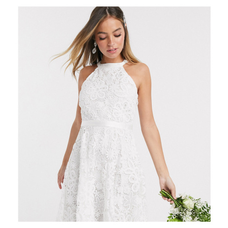Y.A.S Petite wedding mini dress in white lace