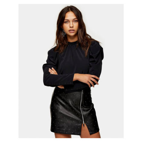 Topshop mutton sleeve blouse in black