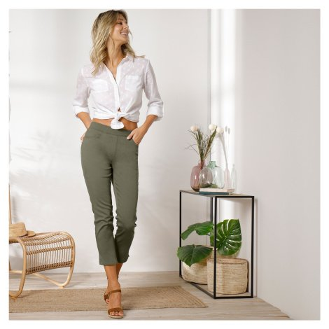 Blancheporte 3/4 plátěné kalhoty s pružným pasem khaki