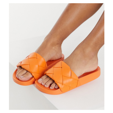 ASOS DESIGN Wide Fit Finley woven sliders in orange