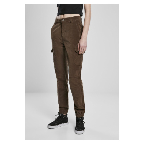 Ladies High Waist Cargo Corduroy Pants - dark olive Urban Classics