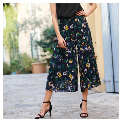 Blancheporte 3/4 kalhoty s potiskem a plisováním temně modrá/zelená