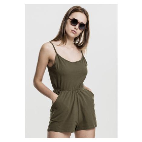 Ladies Short Spaghetti Jumpsuit - olive Urban Classics