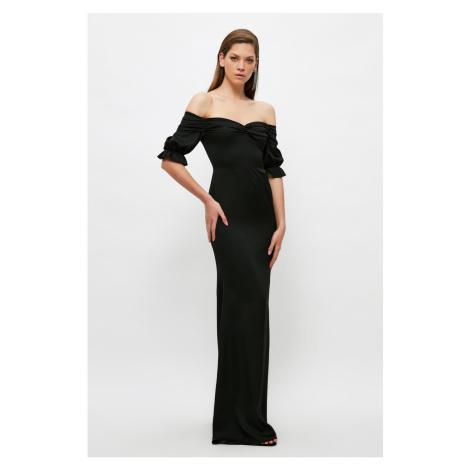 Trendyol Black Ruffle Detailed Satin Evening Dress & Graduation Dress