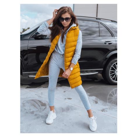Žlutá dámská prošívaná dlouhá vesta TY2141 BASIC