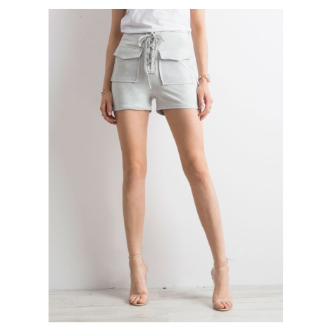 Tied light gray shorts in eco suede Fashionhunters