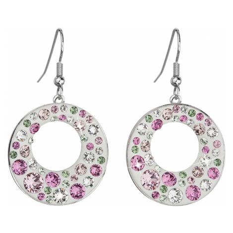 Náušnice bižuterie se Swarovski krystaly růžové kulaté 51040.3 Victum