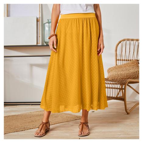 Blancheporte Dlouhá sukně s výšivkou mangová