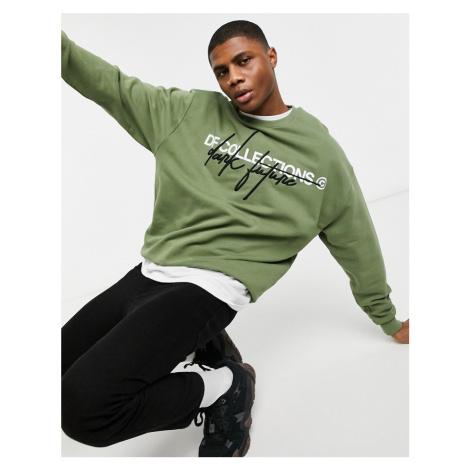 ASOS Dark Future oversized sweatshirt in khaki with print & embroidered logo-Green