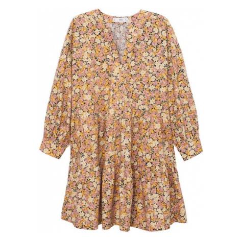 MANGO Šaty žlutá / čokoládová / růžová / oranžová