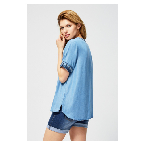 Embroidered lyocell shirt with fringes Moodo