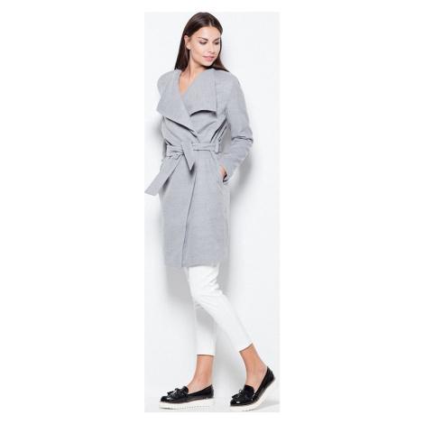 VENATON Podzimní flaušový dlouhý kabátek VT041 Grey