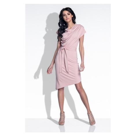 Dámské elegantní šaty s řaseným výstřihem F378 Fobya