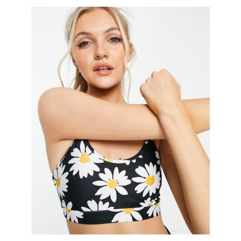 Gilly Hicks co-ord sports bra in daisy print-Black