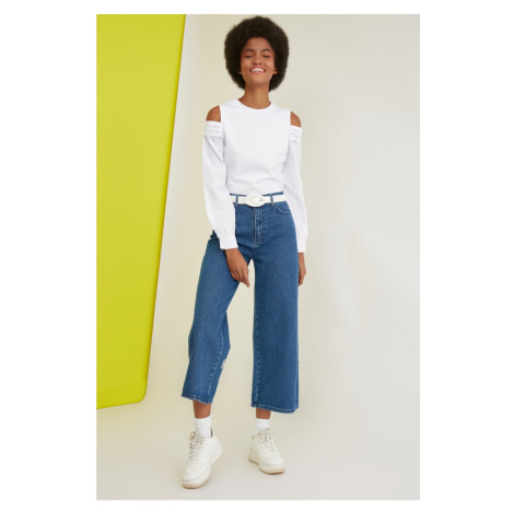 Trendyol Navy Blue Printed High Waist Culotte Jeans