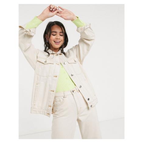 Monki Cathy oversized denim jacket in off white